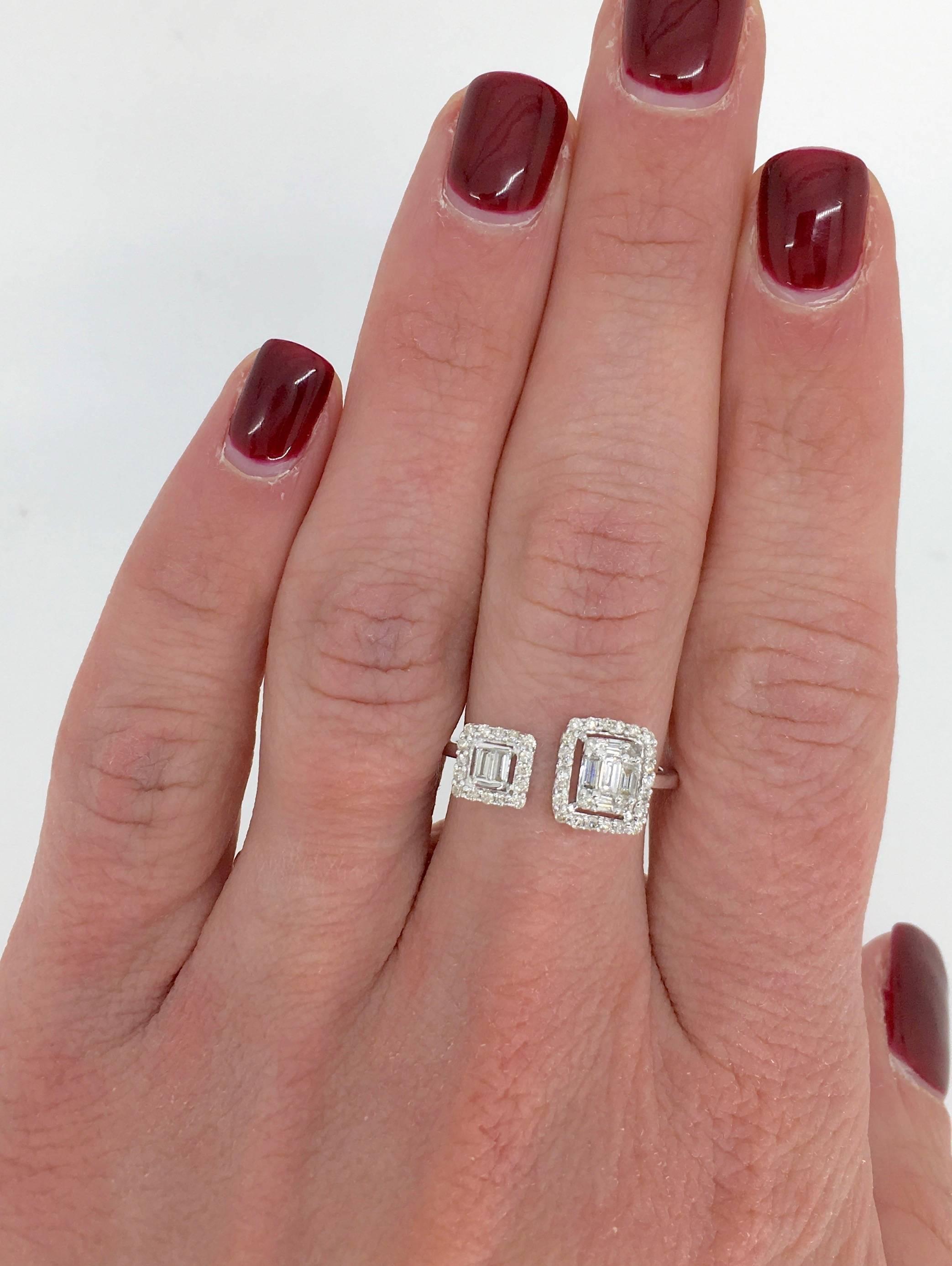 18 Karat White Gold Bypass Diamond Ring For Sale at 1stdibs