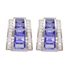 18k White Gold Tanzanite Taper Baguette Diamond Art Deco Style Stud Earrings