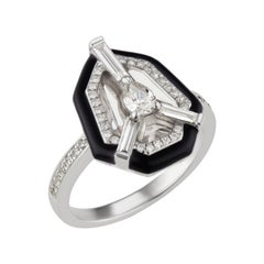 18k White Gold Center Design Diamond and Crystal Ring with Enamel
