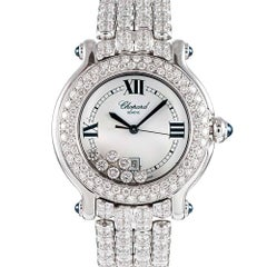 Chopard Ladies White Gold Happy Diamond Sport Quartz Wristwatch