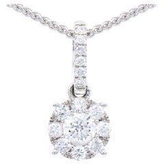 18K White Gold Circle Diamond Hanging Pendant with Chain