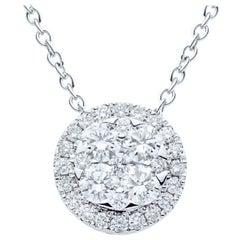 18K White Gold Circle Diamond Pendant