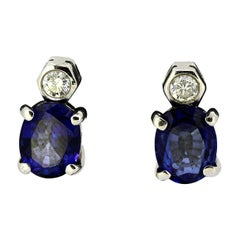 18 Karat White Gold Clip-On Earrings with Natural Blue Sapphire and Diamonds