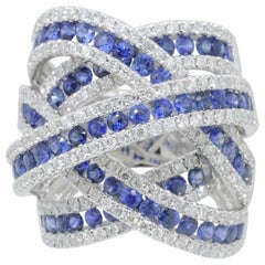 18K White Gold Cocktail Ring with Diamonds and Sapphires Inspired, de Grisogono
