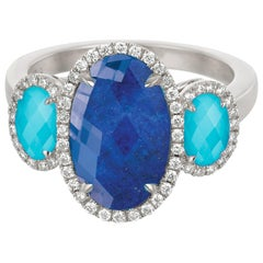 18k White Gold Cocktail Ring with White Topaz, Turquoise Lapis Lazuli & Diamonds