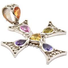 18 Karat White Gold Colored Sapphire Cross Pendant