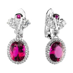 18k White Gold Crown Design Diamond Rubellite Earrings