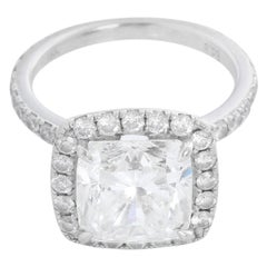 18 Karat White Gold Cushion Brilliant Diamond Ring