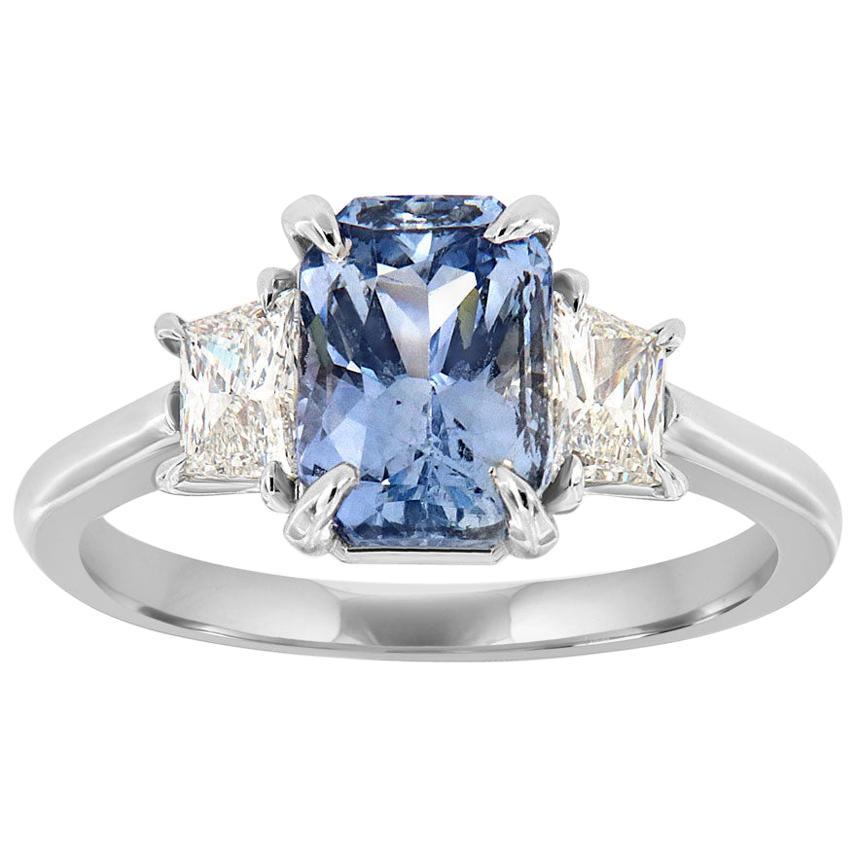 18K White Gold Cushion Ice Blue Unheat Sapphire Diamond Ring GIA Center-2.42 CT
