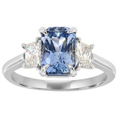 18K White Gold Cushion Ice Blue Unheat Sapphire Diamond Ring GIA Center-2.42 CT