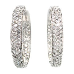 18k White Gold Custom Earrings Pave Diamond Inside and Out Huggies 4.56cts