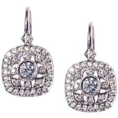 5c32e6c46 18 Karat White Gold Dangling Art Deco Diamond Earrings