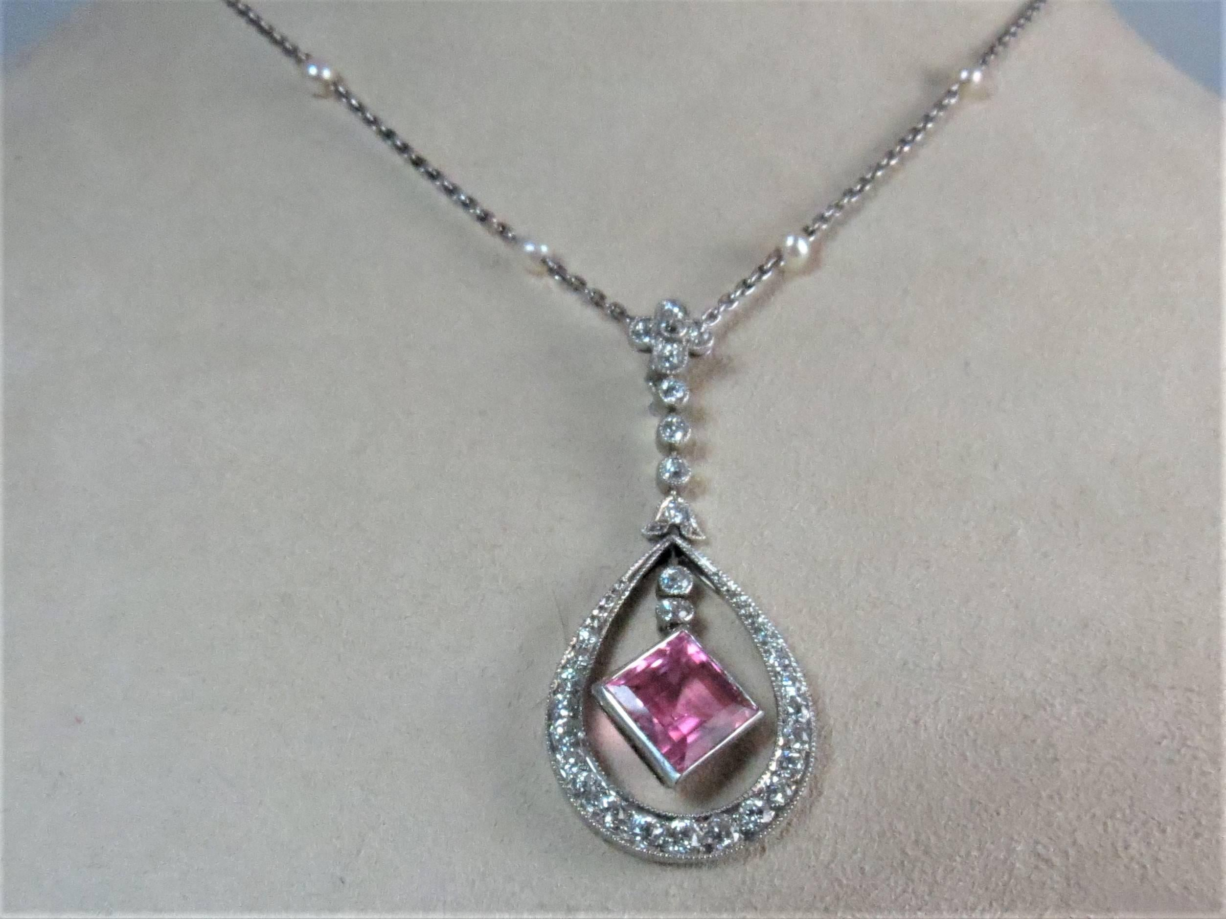 sterling raw pink pendant necklace tourmaline crystal silver rough pin