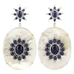 18k White Gold Diamond 13.92ct Sapphire 43.7ct Mother of Pearl Dangle Earrings