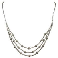 """18k white gold diamond 3 row """"Tennis"""" Necklace"""
