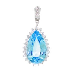 Large 18k Gold Diamond 32 Carat Pear Blue Topaz Pendant Enhancer for Necklace