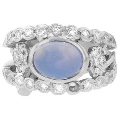 18 Karat White Gold Diamond and Gemstone Cocktail Ring