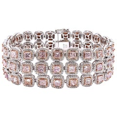 18 Karat White Gold Diamond and Pink Diamond Three-Row Link Bracelet