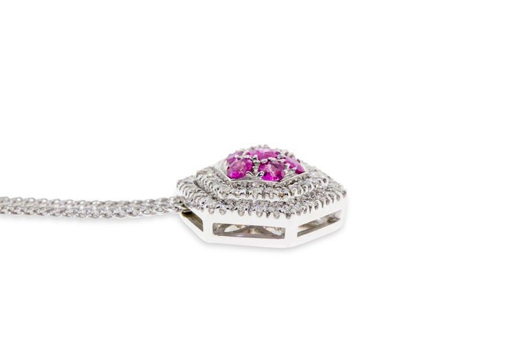 Round Cut 18 Karat White Gold Diamond and Pink Sapphire Pendant Necklace For Sale