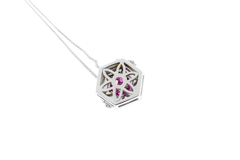 Women's 18 Karat White Gold Diamond and Pink Sapphire Pendant Necklace For Sale
