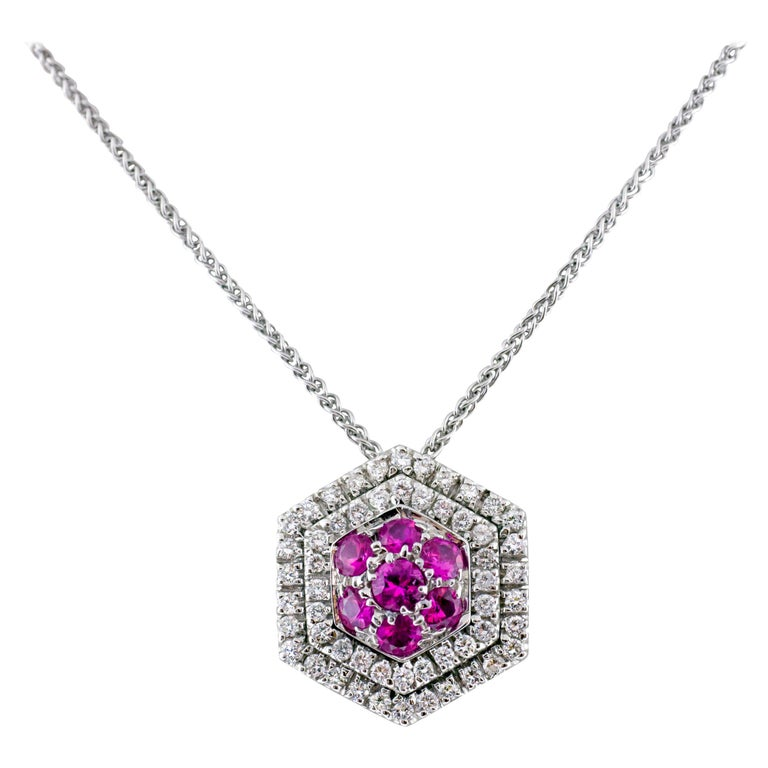 18 Karat White Gold Diamond and Pink Sapphire Pendant Necklace For Sale