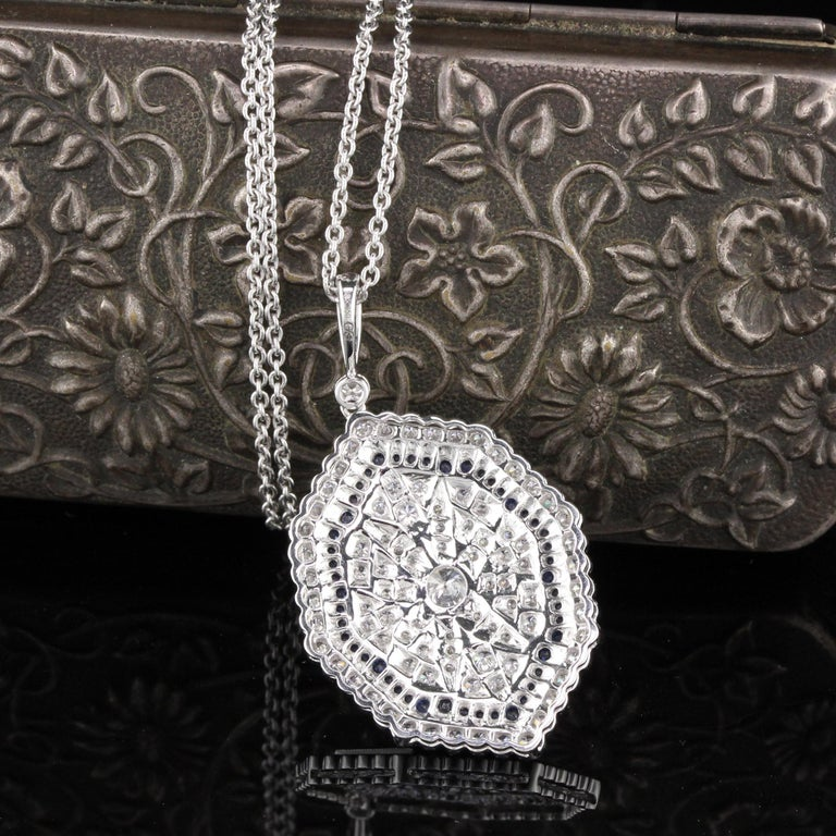 Modern 18K White Gold Diamond and Sapphire Necklace For Sale