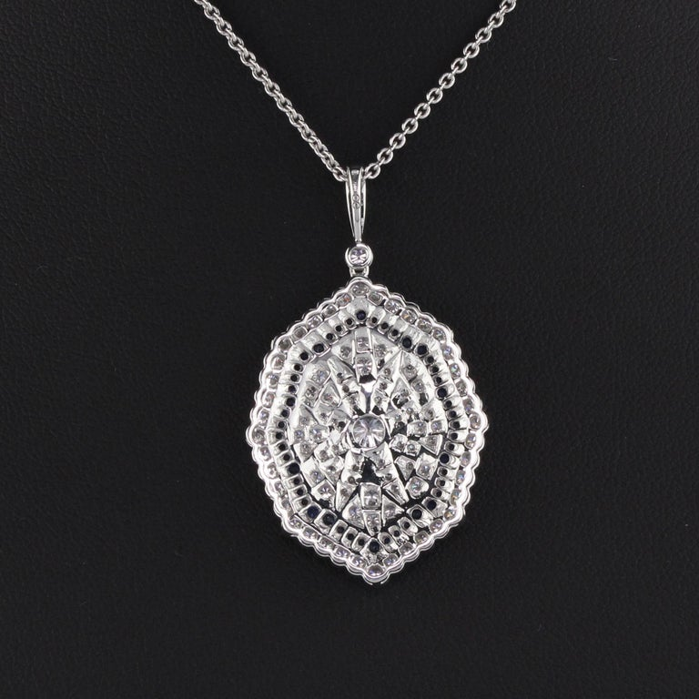 18K White Gold Diamond and Sapphire Necklace In Good Condition For Sale In Great Neck, NY