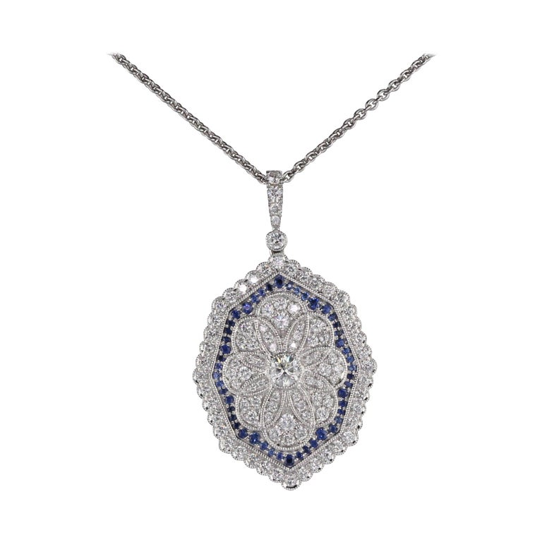 18K White Gold Diamond and Sapphire Necklace For Sale
