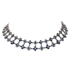 18 Karat White Gold Diamond and Sapphire Two-Row Flower Necklace