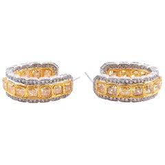18 Karat White Gold Diamond and Yellow Diamond Huggie Hoop Earrings