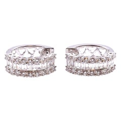 18 Karat White Gold Diamond Baguette and Round Hoop Cluster Earrings