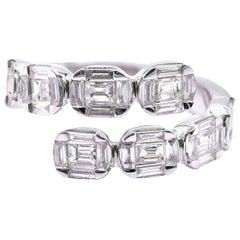 18 Karat White Gold Diamond Baguette Bypass Ring