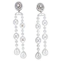 18K White Gold & Diamond Chandelier Illusion Set Earrings 4.00tcw 16.10g