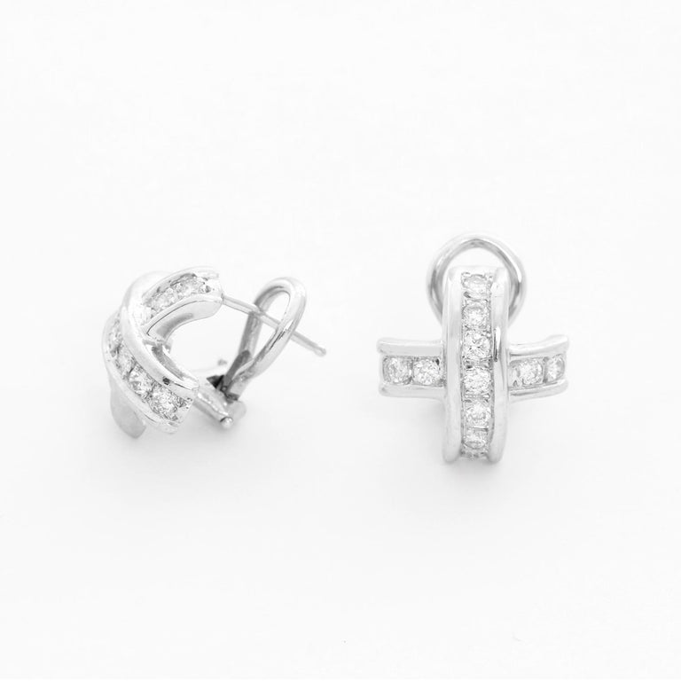 18 Karat White Gold Diamond Cross Earrings