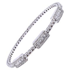 18 Karat White Gold Diamond Cuff Bracelet