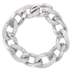 18 Karat White Gold and Diamond Curb Link Bracelet