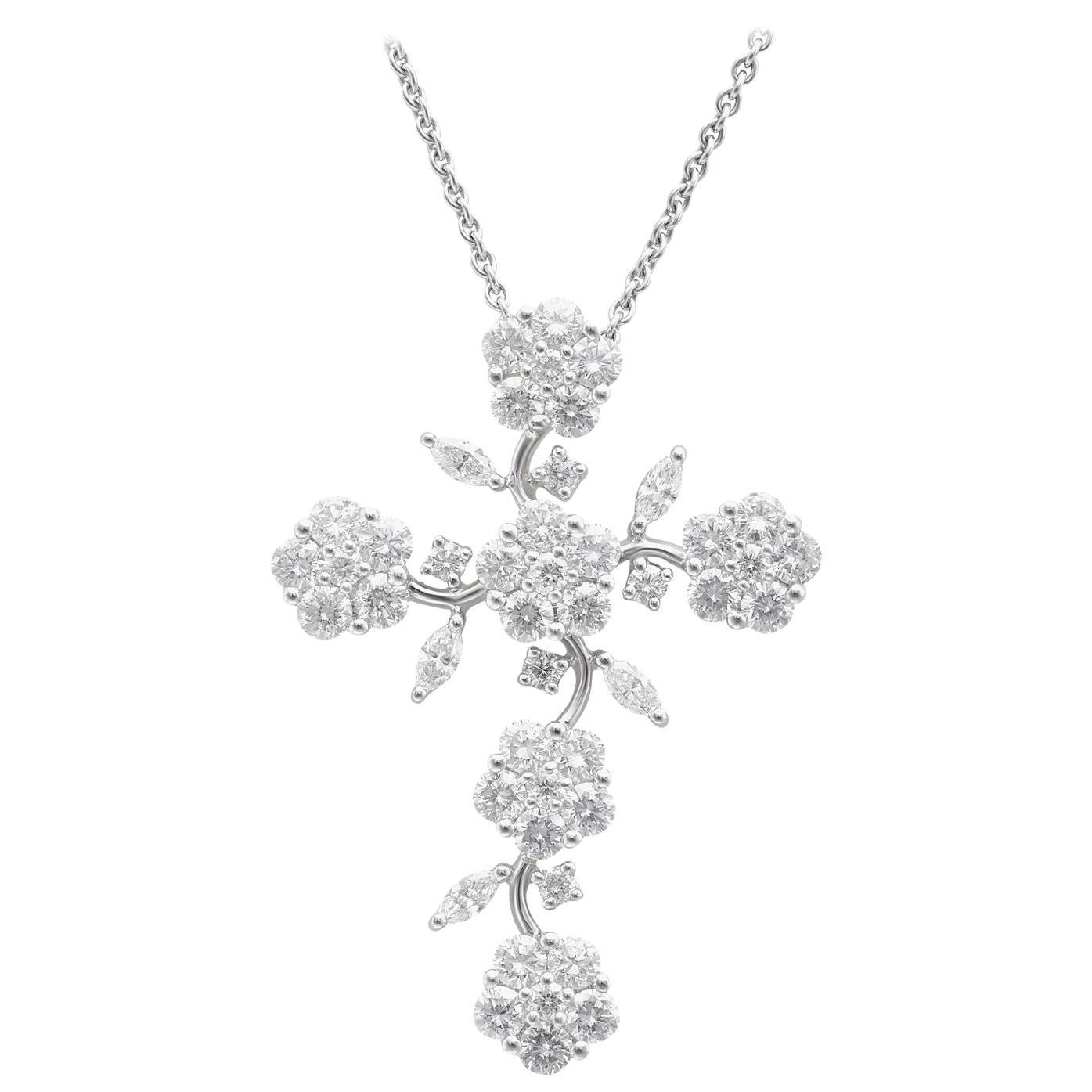 18k White Gold Diamond Floral Cross Pendant