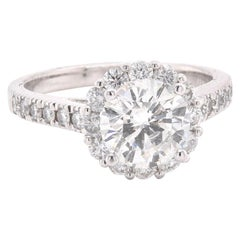 18 Karat White Gold Diamond Halo Engagement Ring