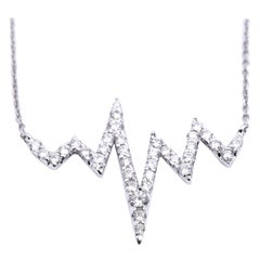 18 Karat White Gold Diamond Heart Beat Necklace