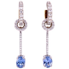 18 Karat Gold Diamond Hoops with Silver Sapphire and Diamond Earring Jackets