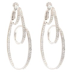18k White Gold Diamond Loop Earrings