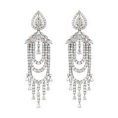 18K White Gold Diamond Multistring Chandelier Dangle Earrings