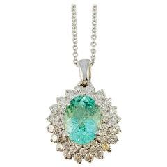 18K white Gold, Diamond & Paraiba Tourmaline Pendant on 18 inch white gold chain