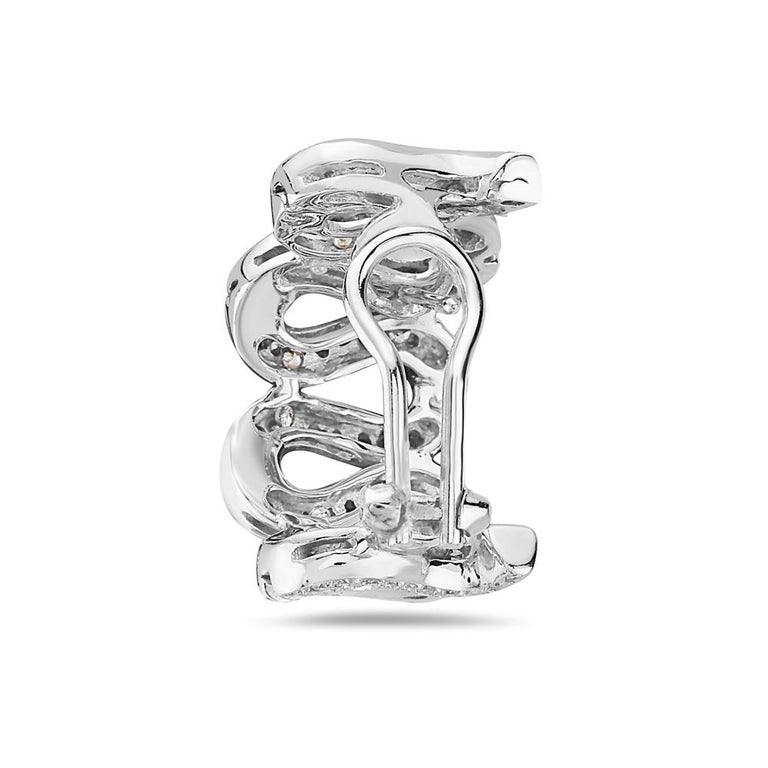Contemporary 18 Karat White Gold Diamond Pave Swirl Hoop Earrings For Sale