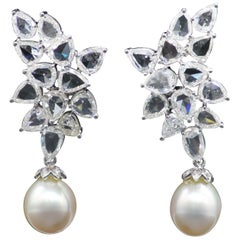 PANIM 14.65ct Diamond Rosecut and South Sea Pearl Earrings in 18Karat White Gold