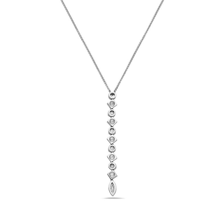 Modern 18 Karat White Gold Diamond Pendant For Sale