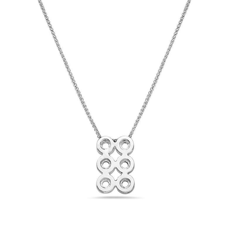 Modern 18 Karat White Gold Diamond Pendant Necklace For Sale
