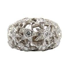 18k White Gold Diamond Ring Designed with Stars