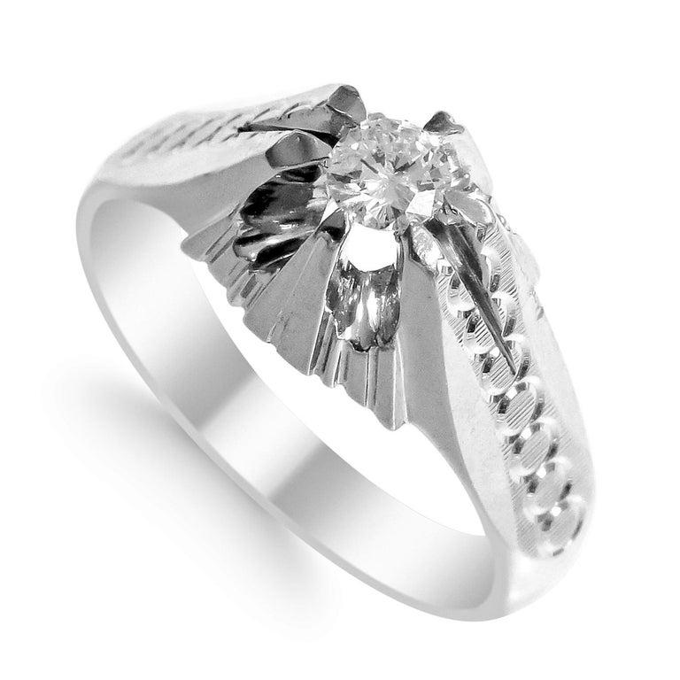 Artisan 18 Karat White Gold and Diamond Ring For Sale