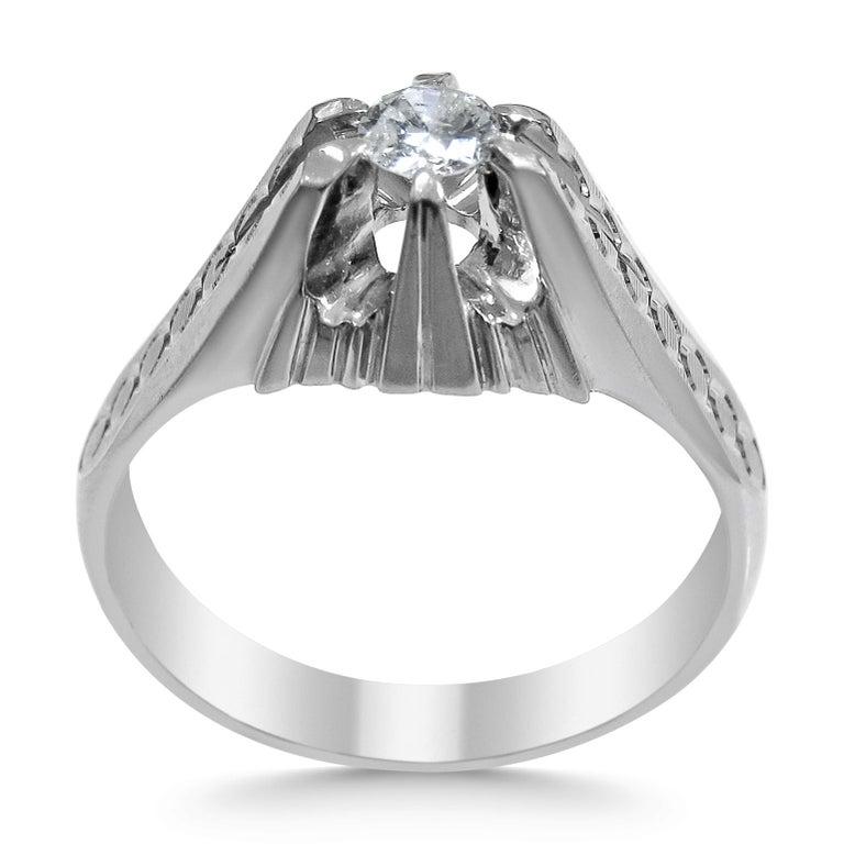 Women's or Men's 18 Karat White Gold and Diamond Ring For Sale